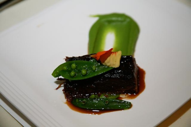 Braised Beef Short Ribs with Onion, Chilies, and Sweet Jalapeño–Pea Purée