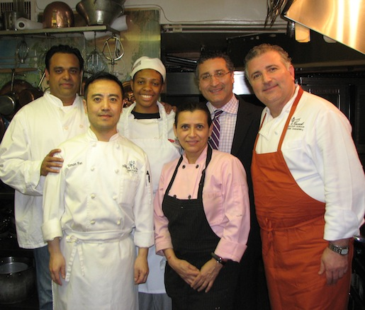 Maziar Farivar and Shahab Farivar with their culinary team