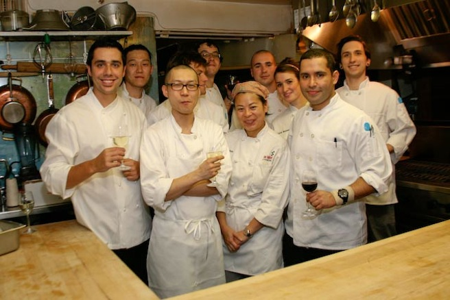 Chef Cedric Vongerichten and team in the Beard House kitchen