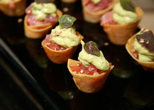 Taconcitos de Atun > Ahi Tuna with Corn Tortilla Cornets, Avocado Mousse, and Toasted Sesame Seeds