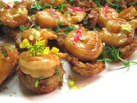 Caramelized Calico Scallop Skewers with Crispy Slab Bacon, Sweet Peppers, and Spicy Piccalilli Jus
