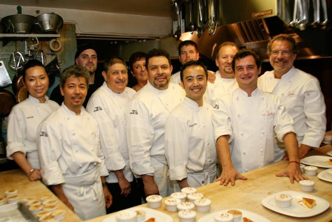 Chefs Michael and David Cordúa with their team in the Beard House kitchen