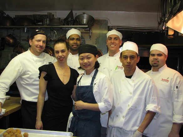 Chef Joe Dobias, mixologist Jill Schulster, and their team in the Beard House kitchen