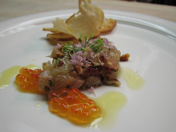 Brook Trout Crudo with Missouri Pecans, Trout Caviar, and Flowering Herbs
