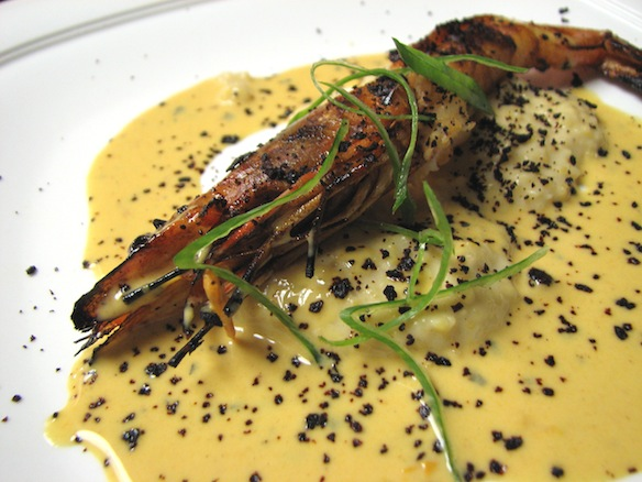 Gulf of Mexico Head-On Shrimp with Brazos Valley Grits and Pasilla Chili–Tomato Butter