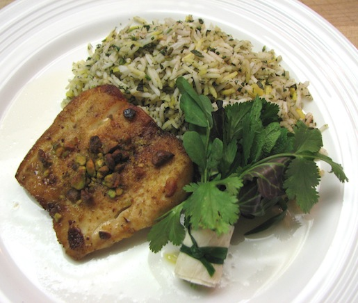 Sabzi Polo Mahi > Pistachio-Crusted Rockfish with Herbed Rice