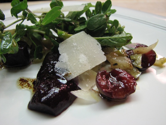 Roasted Forono Beets and Young Fennel with Foraged Greens and Smoked Olive Oil
