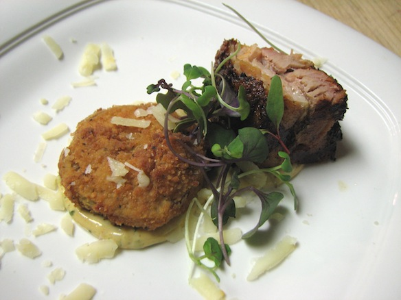 B.L.T. with Fried Green Cherry Tomatoes, Twin Oaks Farm Heritage Pork Belly, and Bella Verdi Farms Microgreens
