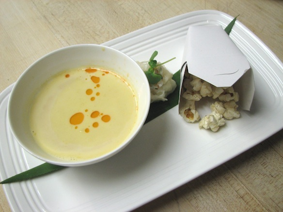 Elua > White Corn Miso Soup with Spiny Lobster Dumpling and Ali'i Lavender–Spiced Popcorn