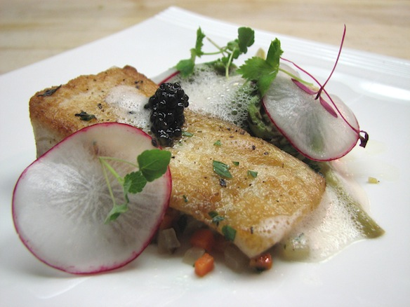 Ekolu – I'a > Kona Kampachi Barigoule with Haiku Artichokes, Pohole, King Oyster Mushrooms, and Osetra Caviar