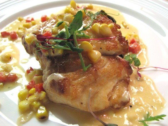 Gulf Red Snapper with Stewed Collard Greens and Roasted Corn–Red Pepper Beurre Blanc