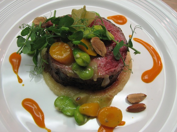 Augusta Norton Grapevine–Grilled Jones Farm Lamb Stufato with Fava Beans, Spring Carrots, Almonds, and Mint