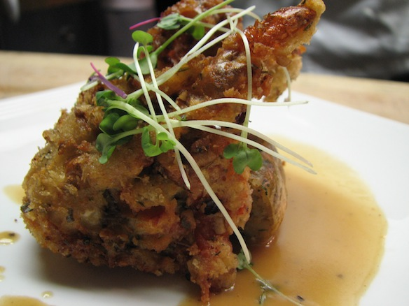 Housemade Seafood Boudin Blanc–Stuffed and Pecan and Country Ham–Crusted Softshell Crab