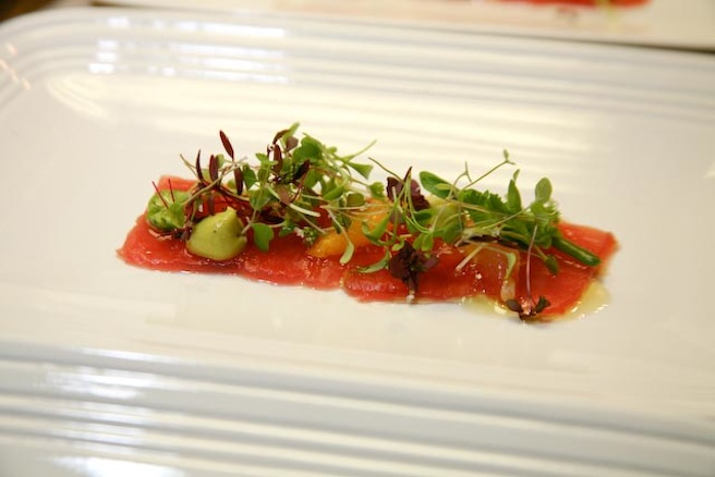 Ahi Tuna Carpaccio with Compressed Watermelon, Garden Vegetables, Avocado Mousse, and Citron Vinaigrette