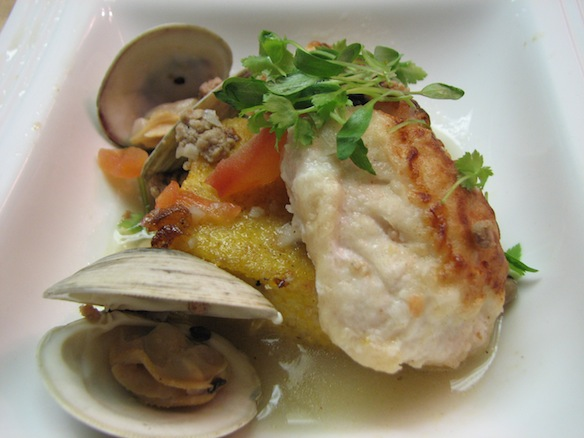 Sautéed Gulf Grouper on Cantonment Stone-Ground Grits Cake with Cedar Key Clams, Housemade Chorizo, Tomatoes, Jalapeños, and Black-Eyed Peas