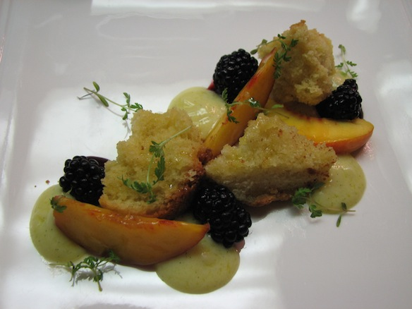 Olive Oil Shortcake with Clingstone Peaches, Blackberries, and Tangerine Agrumato