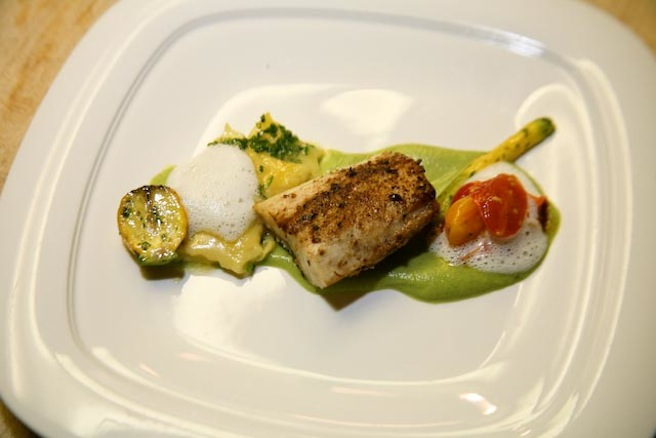 Roasted Florida Cobia with Sweet Corn Agnolotti, Swank Farms Baby Squash, Zucchini Flowers, and Basil–Cream Froth