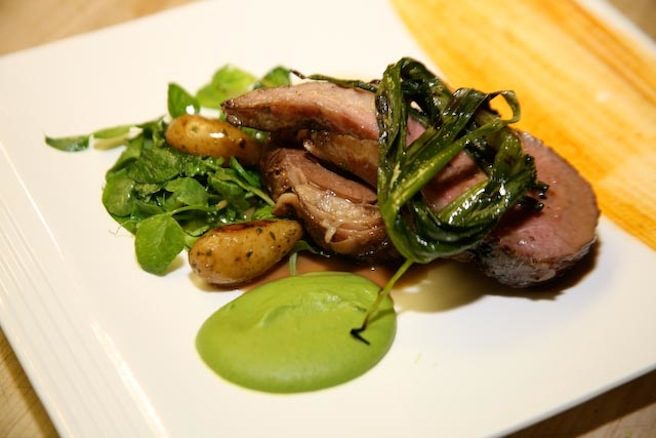Colorado Rack of Lamb and Braised Lamb Belly with Minted Pea Purée, Roasted New Potatoes, Grilled Ramps, and Lamb Jus