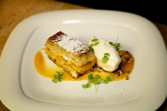 Peach Upside-Down Cake with Pecan Crumble and Bourbon Ice Cream