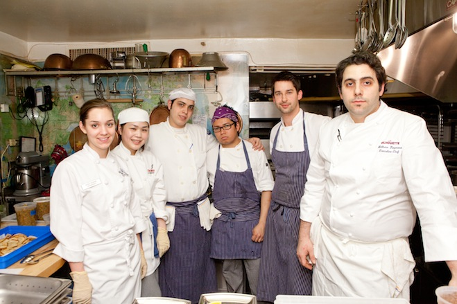 Matthew Tropeano and his team in the Beard House kitchen