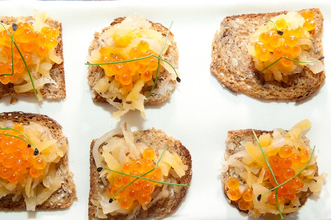 Rutabaga Sauerkraut with Salmon Caviar on Rye Toasts