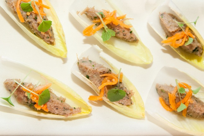 Rabbit Rillette on Endive Leaves