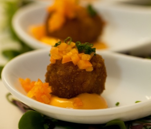 East Mountain Farm Pork Croutons with Mighty Food Farm Pickled Carrots & Red Pepper Mayonnaise