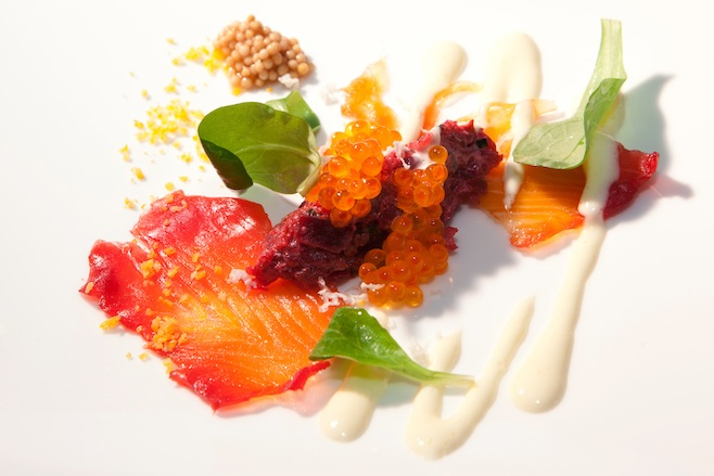 Organic Beet Tartare with Salmon Carpaccio, Yuzu–Horseradish Crème, and Trout Caviar