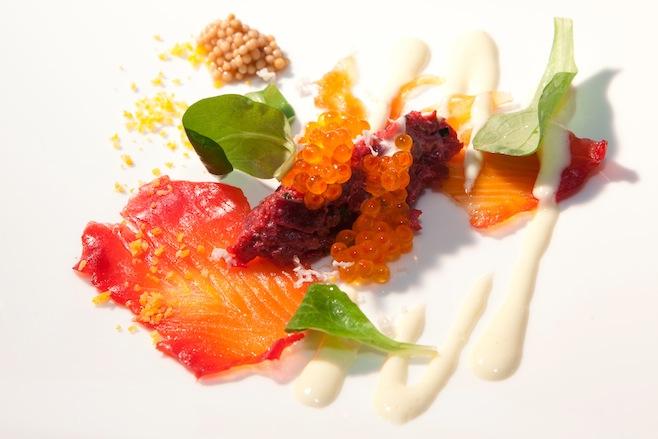 Organic Beet Tartare with Salmon Carpaccio, Yuzu–Horseradish Crème, and Trout Caviar