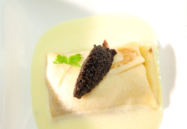 Poached Farm Egg Beggar's Purse with Grinnel Caviar and Champagne Sabayon