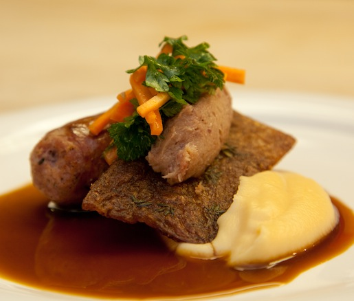 Berkshire Sauerkraut-Braised Wanabea Farm Rabbit with Smoked Foggy River Farms Squash Purée and Squash Butter