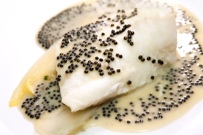 Turbot au Four with Braised Endive, Tarragon, Hackleback Caviar, and Beurre Blanc