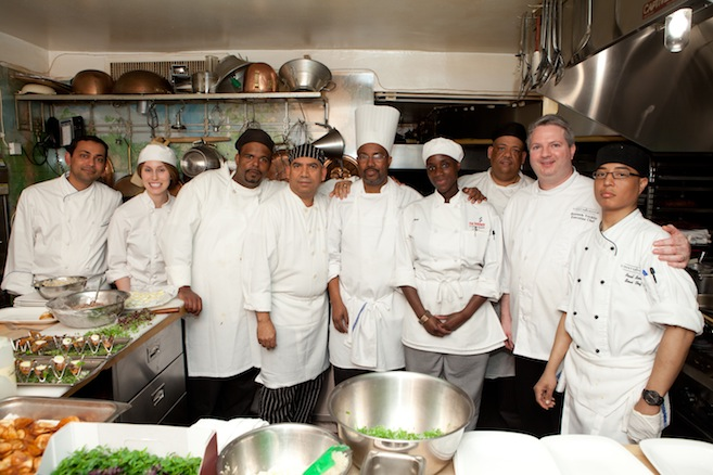 Chef Ken Trickilo and his team in the Beard House kitchen