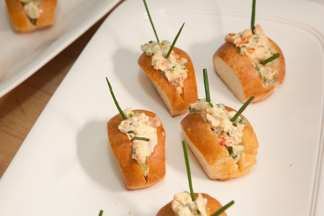 Creole-Style Crayfish Po' Boys on Miniature Brioche Rolls with Bell Peppers, Red Onions, Celery, Lemon, and Cilantro