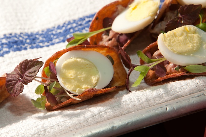 Steak Tartare Tacos with Capers, Hard-Boiled Quail Eggs, Red Onions, Dijon Mustard, and Sea Salt