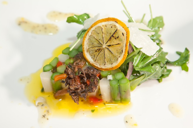 Spring Asparagus–Morel Terrine with Roasted Red Peppers, Wild Arugula, Red Onions, Pecorino, Vegetable Gelée, and Meyer Lemon Vinaigrette
