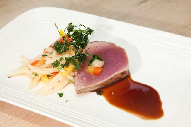 Coriander-Rubbed Ahi Tuna with Green Papaya–Jicama Salad and Ginger–Pomegranate Reduction