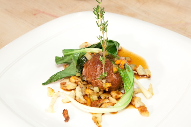 Braised Niman Ranch Pork Cheeks with Aromatic Vegetables, Wild Ramps, Mustard Spaetzle, and Pork Braising Jus