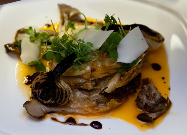 Pork Shoulder Lasagna with Charred Spring Onions, Pickled Chanterelles, and Sottocenere Cheese