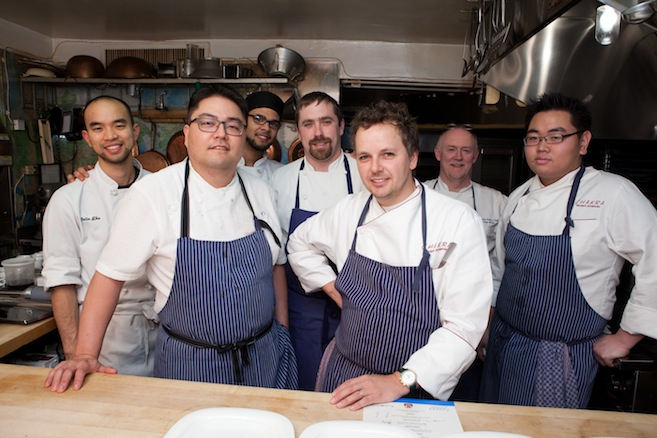 Chefs Thomas Ciszak and Kevin Takafuji with their team in the Beard House kitchen