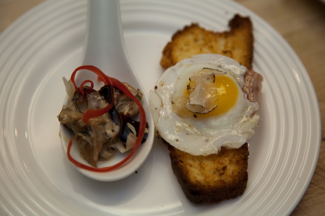 Forest Mushrooms with Madeira Crème, Montana Chèvre, and Thyme Pastry; Ham, Eggs, and Toast > Quail Eggs with House-Cured Mangalitsa Leg, and Summer Truffles on Brioche