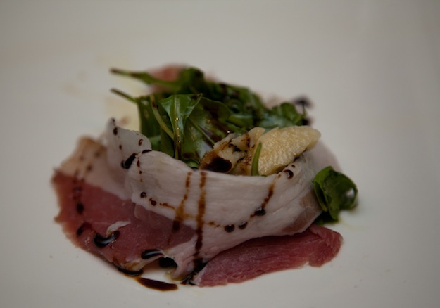 House-Cured Guanciale with Arugula, Parmigiano-Reggiano, and 20-Year-Old Aged Balsamic Vinegar