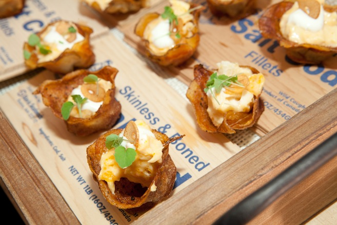 Bacalhau > Portuguese Salt Cod in Potato Cups with Garlic Chips and Preserved Lemon Cream