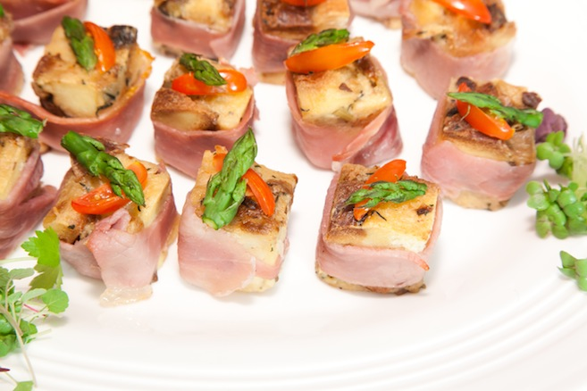 Serrano Ham–Wrapped Newfoundland Mushroom Brioche Bread Pudding