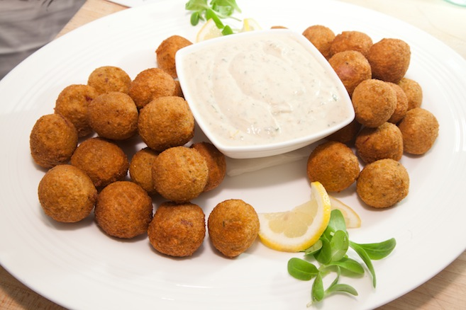 Newfalafel  > Yellow Split Pea–Salt Meat Falafel with Tahini and Yogurt–Mustard Pickle Sauce