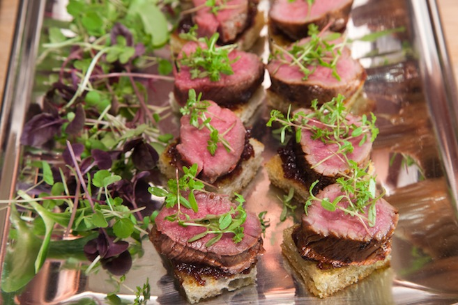 Sweet-and-Spicy Canadian Lamb Loin with Onion–Cherry Jam on Crostini