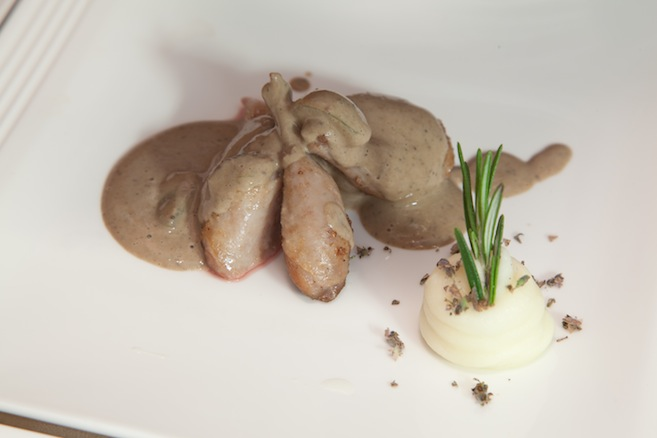 Diamond H Ranch Bandera Quail with Lavender-Whipped Potatoes and Grapes