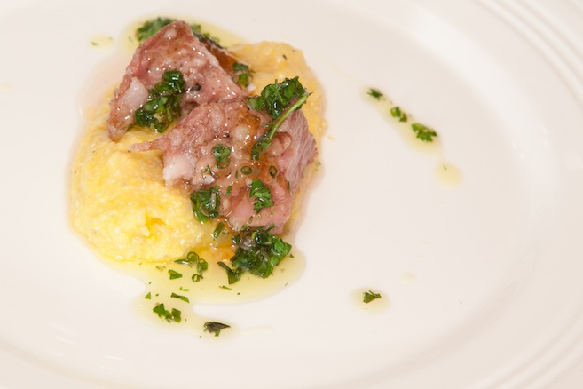 Soft Cotechino Sausage with Creamy Polenta, Mostarda di Cremona, and Salsa Verde