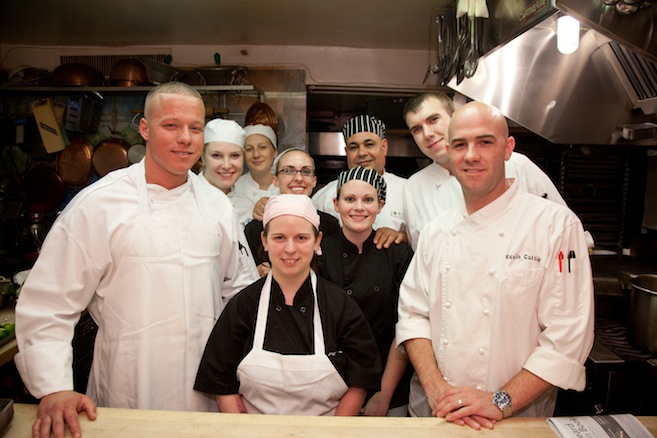 Chefs Kevin Cottle, Van Hurd and their team in the Beard House kitchen