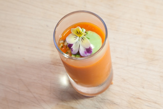 Gazpacho Shooters with Connecticut Lobster